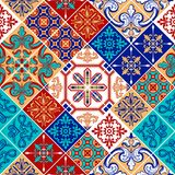 Azulejo pattern patchwork, traditional tile ornament. Colorful seamless pattern patchwork. Traditional Portuguese, Moroccan ornament, painted azulejo tile stock illustration