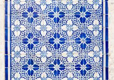 Azulejo, Portugal. View of the famous Portuguese Azulejo : painted tin-glazed ceramic tilework.nnAzulejos are found on the interior and exterior of churches Stock Image