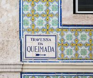 Azulejo, Portugal. View of the famous Portuguese Azulejo : painted tin-glazed ceramic tilework.nnAzulejos are found on the interior and exterior of churches Stock Photography