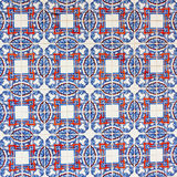 Azulejo with red squares and blue petals Royalty Free Stock Images