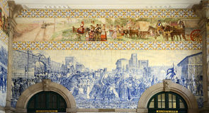 Azulejo in São Bento Railway Station, Porto, Portugal Stock Afbeelding