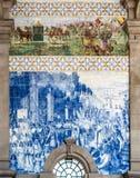 Azulejo in São Bento Railway Station, Porto, Portugal royalty-vrije stock foto's