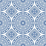 Azulejo Seamless Portuguese Tile Blue Pattern. Vector. Illustration royalty free illustration