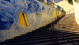 Azulejo Stairs. Outdoor stairs with one wall of azulejo in Lisbon, Portugal Stock Image