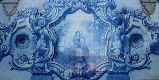 Azulejo or Tile decorated of the Sanctuary of Our Lady of Remedios in Lamego ,Portugal. Paiting of Azulejo Azuleijo or Tile of Sanctuary in Lamego, Portugal royalty free stock images