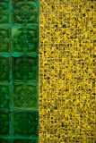 Azulejo tiling. Wall with green and yellow Azulejo tiling Portugal Stock Photo