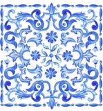 Azulejos葡萄牙人水彩 库存例证
