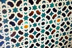 Azulejos, Alcazar Royal palace in Sevilla, Spain. Moorish Art, glazed tile skirting board, palace royal Alcazar in Seville, Andalusia, Spain Royalty Free Stock Image