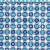 Azulejos azules en el exterior del edificio Fotos de archivo