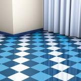Azulejos azules y blancos de la esquina Imagenes de archivo