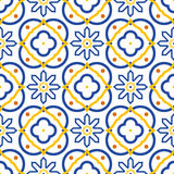 Azulejos blue and white mediterranean seamless tile pattern. Royalty Free Stock Image
