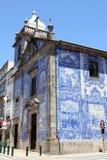 Azulejos on a church wall in Porto. Azulejos (wall tiles) on the walls of Capela das Almas in the city of Porto, Portugal Stock Photo