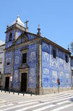 Azulejos on a church wall in Porto. Azulejos (wall tiles) on the walls of Capela das Almas in the city of Porto, Portugal Stock Image