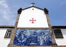 Azulejos on a church wall in Porto. Azulejos (wall tiles) on the walls of Igreja da Confraria das Almas do Corpo Santo de Massarelos in the city of Porto Royalty Free Stock Images