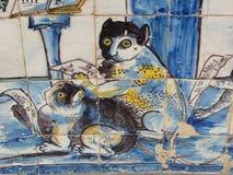 Azulejos com gatos Imagem de Stock
