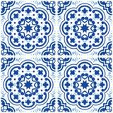 Azulejos dachówkowej podłoga Portugalski wzór, Lisbon indygowego błękita bezszwowe płytki, rocznika geometryczny ceramiczny proje ilustracji