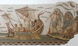 Azulejos de mosaico romanos antiguos Foto de archivo libre de regalías