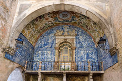 Azulejos. Decorative tiling on an old building in Obidos, Portugal Royalty Free Stock Image