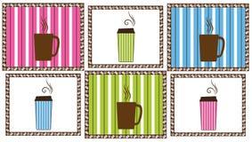 Azulejos del café de la tela a rayas Imágenes de archivo libres de regalías