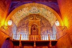Azulejos in Obidos. Traditional Portuguese azulejos - old entrance in Obidos, Portugal Stock Photo