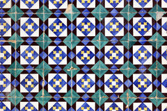 Azulejos, old hand painted tiles at Lisbon house Royalty Free Stock Photo