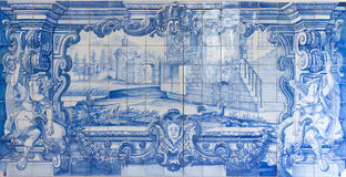 Azulejos pintados a mano azules, Azulejos Fotos de archivo