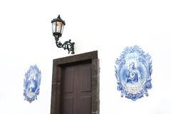 Azulejos - Portugese verglaasde tegels, Canico, Madeir Stock Foto