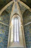 Azulejos portuguese płytki Faro Portugalia szczegółu nadokienny igreja de Santa Maria obraz royalty free