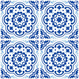 Azulejos Portuguese tile floor pattern, Lisbon seamless indigo blue tiles, vintage geometric ceramic design, Spanish  backgr Royalty Free Stock Images