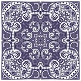 Azulejos Portuguese watercolor. Azulejos - Portuguese tiles blue watercolor pattern. Traditional tribal ornament. Vector imitation of ceramics royalty free illustration