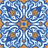Azulejos Portuguese watercolor. Azulejos Portuguese Dutch tile in shades of blue and yellow colors pattern. Baroque tiles. Vector illustration stock illustration