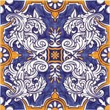 Azulejos Portuguese watercolor. Azulejos Portuguese Dutch tile in shades of blue and yellow colors pattern. Baroque tiles. Vector illustration vector illustration