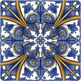 Azulejos Portuguese watercolor. Azulejos Portuguese Dutch tile in shades of blue and yellow colors pattern. Baroque tiles. Vector illustration royalty free illustration