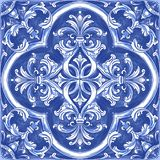 Azulejos Portuguese watercolor. Azulejos - Portuguese tiles blue watercolor pattern. Traditional tribal ornament. Vector imitation of ceramics vector illustration