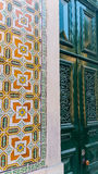 Azulejos tiles and green door Royalty Free Stock Images
