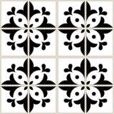 Azulejos tiles pattern - Portuguese floral design, seamless vector black and white background, vintage mosaics set vector illustration
