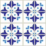 Azulejos tiles pattern - Portuguese navy blue design, seamless vector blue background, vintage mosaics set Stock Photography