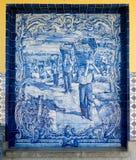Azulejos tilework in Pocinho, Portugal Royalty Free Stock Image