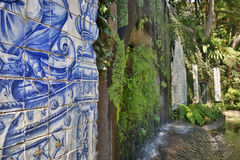 Azulejos in Tropical Garden in Funchal Madeira, Portugal