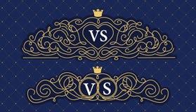 Azules marinos con la línea de oro Marco decorativo del ornamento para casarse el monograma Logotipo del vector para la tarjeta d Foto de archivo