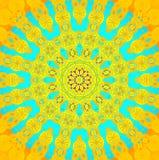 Azules turquesa amarillo-naranja del ornamento inconsútil del círculo concéntrico ilustración del vector