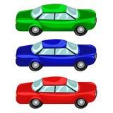 Azulverde rojo de los coches stock de ilustración