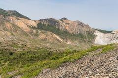Azuma-Kofuji peak. 1707 meters ,Mount Azuma is a roughly 2000 meter tall, volcanic mountain range northeast of Mount Bandai along the border of Fukushima and Royalty Free Stock Photos