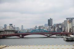 Azumabashi bridge Sumida river at Tokyo,Japan on April 1, 2017 Royalty Free Stock Image