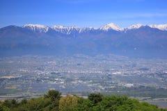 Azumino city and Japan Alps. View of Azumino city and Japan Alps, Nagano, Japan stock photo