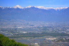 Azumino city and Japan Alps Royalty Free Stock Images