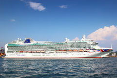 Azura cruise liner. LA SPEZIA, ITALY - AUGUST 08, 2015: Big Azura cruise liner sailing in the harbor of La Spezia, Ligurian province, Italy Royalty Free Stock Photography