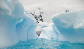 Azurblauer EisAmphitheatre - Antartic Stockfoto