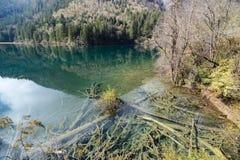 azure озеро Jiuzhaigou Valley считало ЮНЕСКО как место всемирного наследия и запас биосферы мира - Китай Стоковые Изображения