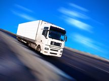 Azure. White truck with motion blur Royalty Free Stock Photos